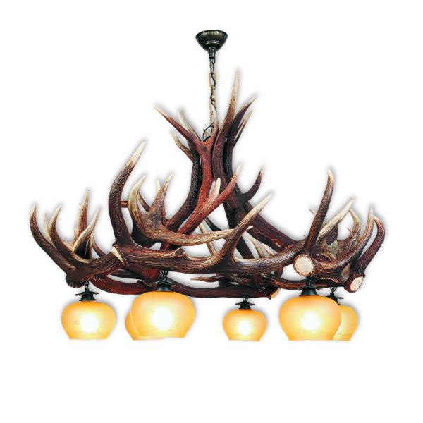 Chandelier with real deer antlers. Lighting. 6xE27 M: 120x120x100cm 1503