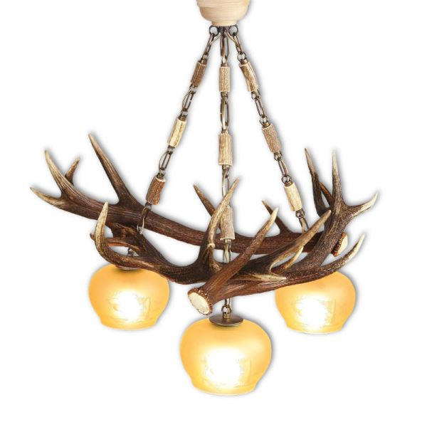 Chandelier with real deer antlers. Lighting. 3xE27 M: 75x75x80cm 1515