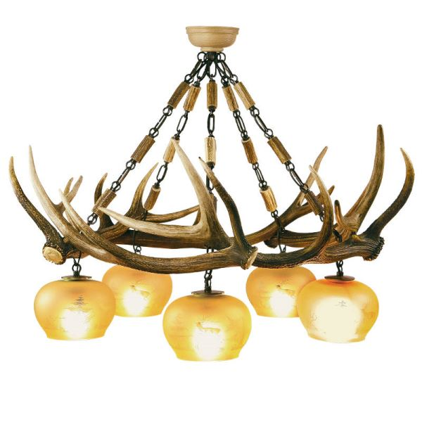 Chandelier with real deer antlers. Lighting. 5xE27 M: 85x85x85cm 1527