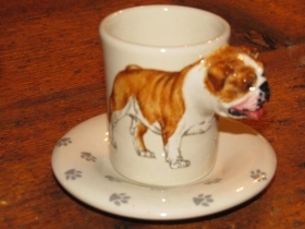 ENGLISH BULLDOG Espresso Coffee Cup, Blue Witch Ceramics, 3D