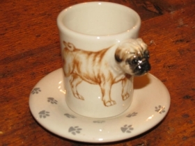 PUG Espresso Coffee Cup, Blue Witch Ceramics, 3D