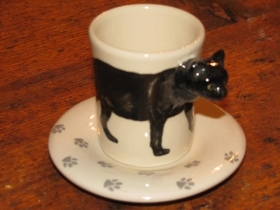 BLACK CAT Espresso Coffee Cup, Blue Witch Ceramics, 3D