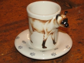 SIAMESE CAT Espresso Coffee Cup, Blue Witch Ceramics, 3D