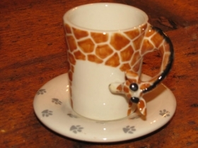 GIRAFFE Espresso Coffee Cup, Blue Witch Ceramics, 3D