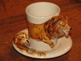 LION Espresso Coffee Cup, Blue Witch Ceramics, 3D