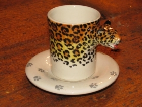 LEOPARD Espresso Coffee Cup, Blue Witch Ceramics, 3D