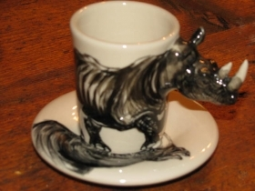 RHINOCEROS Espresso Coffee Cup, Blue Witch Ceramics, 3D