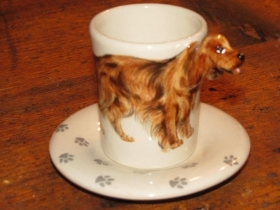 IRISH SETTER Espresso Coffee Cup, Blue Witch Ceramics, 3D