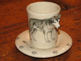 SIBERIAN HUSKY Espresso Coffee Cup, Blue Witch Ceramics, 3D