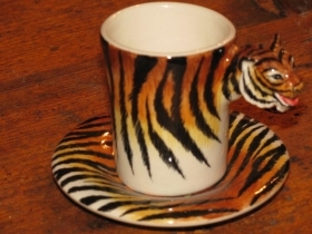 TIGER Espresso Coffee Cup, Blue Witch Ceramics, 3D