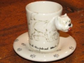 WEST HIGHLAND WHITE TERRIER Espresso Coffee Cup, Blue Witch Ceramics, 3D