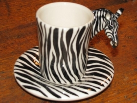 ZEBRA Espresso Coffee Cup, Blue Witch Ceramics, 3D