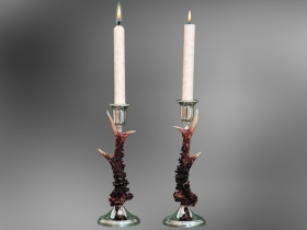Pair candles holder roedeer antler. Decoration. Chalet. Fireplace. 17_3212