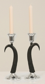 Pair candles holder chamois horn. Decoration. Chalet. Fireplace. 17_3218