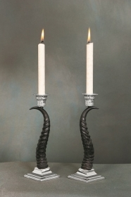 Pair candles holder springbok horn. Decoration. Chalet. Fireplace. 17_3213