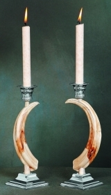 Pair candles holder warthog teeth. Decoration. Chalet. Fireplace. 17_3211
