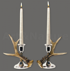 Pair candles holder roedeer antler. Decoration. Chalet. Fireplace. 17_32121