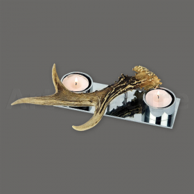 Candles holder roedeer antler. For 2 candles. Decoration. Chalet. Fireplace. 17_32204