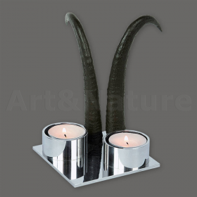 Candles holder chamois horn. For 2 candles. Decoration. Chalet. Fireplace. 17_32207