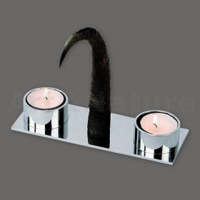 Candles holder chamois horn. For 2 candles. Decoration. Chalet. Fireplace. 17_32208