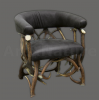 Armchair by deer antlers, leather, hunting, chalet, furniture - 111104