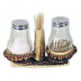 Salt and pepper shaker with deer antler. Decorating the table. 173302