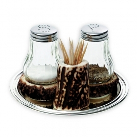 Salt and pepper shaker with deer antler. Decorating the table. 173303