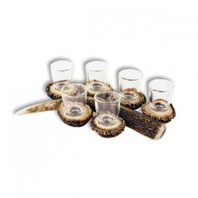 Set liqueur 6 glasses 30ml with real deer antler. stag. hunting. 173702