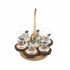 Set liqueur 6 glasses 60ml with real deer antler. stag. hunting. 173705