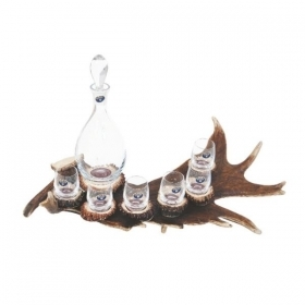 Set liqueur 6 glasses 60ml and bottle with real fallow deer antler. stag. hunting. 173704
