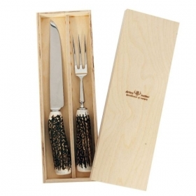 Set knife and fork bigs, with real deer antler. hunting. 17360701