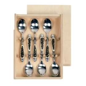 Set 6 spoons dessert with real deer antler. hunting. 173402
