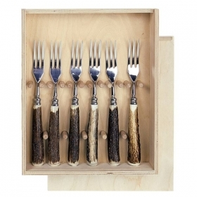 Set 6 steak forks with real deer antler. hunting. 173602082