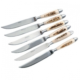 Set 6 knives with real deer antler. hunting. 17360106