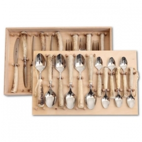 Set 24 pieces cutlery table with real deer antler. 173602