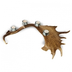 Candles holder with real fallow deer antler. Stag. Decoration. Chalet. Fireplace. 17_32213