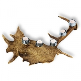 Candles holder with real fallow deer antler. Decoration. Chalet. Fireplace. 17_32214