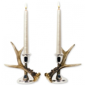 Pair candles holders with real roedeer antler. Decoration. Chalet. Fireplace. 17_32121