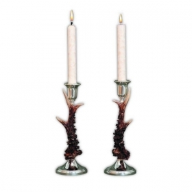 Pair candles holders with real roedeer antler. Decoration. Chalet. Fireplace. 17_3212