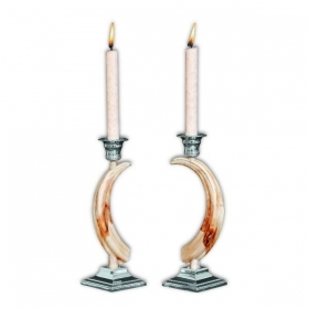 Pair candles holders with real warthog teeth. Decoration. Fireplace. 17_3211