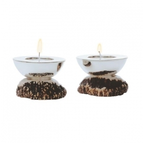 Pair candles holders with real deer antler. Decoration. Chalet. Fireplace. 17_3215