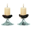 Pair candles holders with real deer antler. Decoration. Chalet. Fireplace. 17_3217