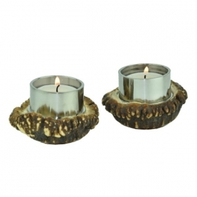 1x Candles holder with real deer antler. Decoration. Chalet. Fireplace. 17_32215