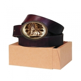 Leather belt 30mm. Buckle with