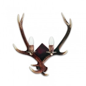 Applique, wall lamp with real deer antlers. 2xE14 55x60cm 153401