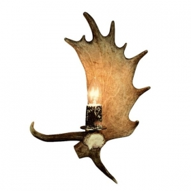 Applique, wall lamp with real fallow deer antlers. 1xE14 30x40cm 1537202