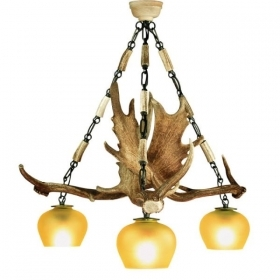 Chandelier with real fallow deer antlers. 3xE27 M: 55x55x60cm 1508