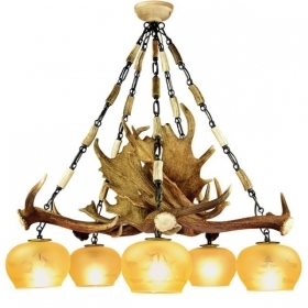 Chandelier with real fallow deer antlers. 5xE27 M: 85x85x75cm 1531
