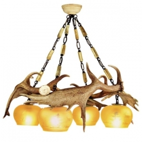 Chandelier with real fallow deer antlers. 4xE27 M: 70x70x70cm 1533