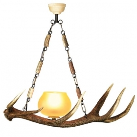 Chandelier with real deer antlers. Lighting. 1xE27 M: 60x25x60cm 150702